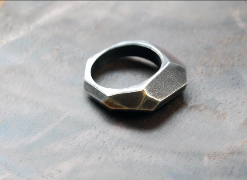 black crystalline rings